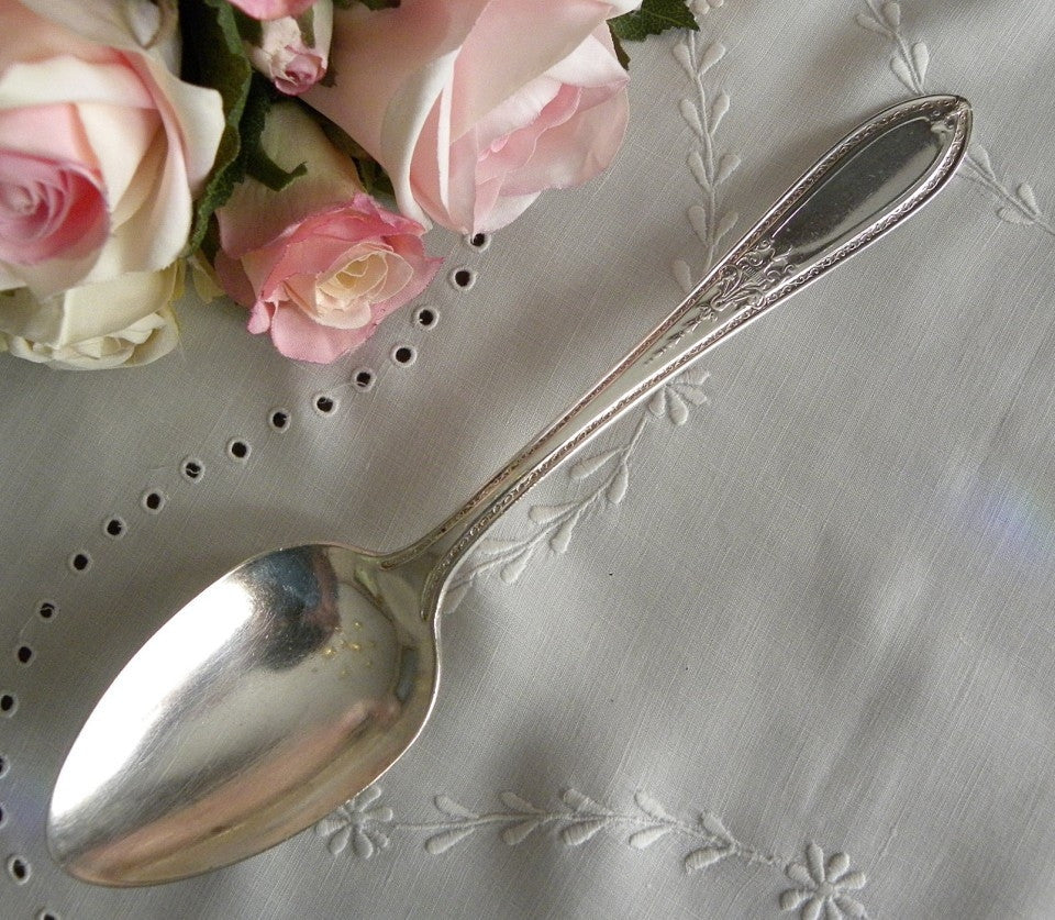 Vintage 1925 Silver Serving Spoon Coronet Mystic - The Pink Rose Cottage