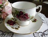 Vintage Royal Dover Red and White Rose Teacup and Saucer - The Pink Rose Cottage