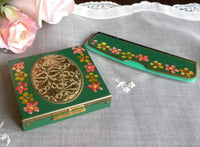Unused Vintage Hand Painted Powder Compact with Matching Comb - The Pink Rose Cottage