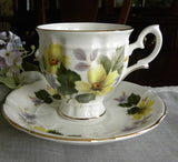 Vintage Staffordshire Yellow Flower Teacup and Saucer - The Pink Rose Cottage