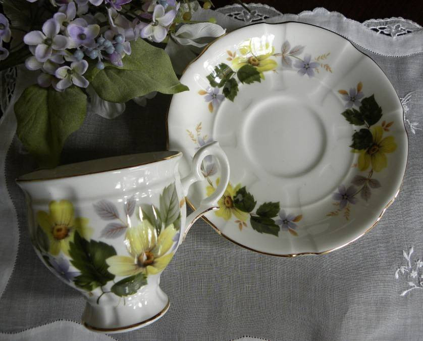 Vintage Staffordshire Yellow Flower Teacup And Saucer
