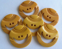 Six Vintage Bakelite Smiley Face Buttons - The Pink Rose Cottage