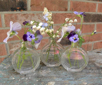 Set of 3 Antique Round Perfume Bottle or Little Vases - The Pink Rose Cottage