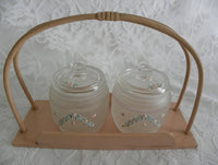 Vintage Hand Painted Pink Rose Vanity Jars with Pink Basket Tray - The Pink Rose Cottage