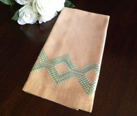 Vintage Peach and Green Embroidered Huck Towel - The Pink Rose Cottage