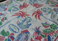 Vintage Hawaii Souvenir Aloha Hula Dancer Tablecloth - The Pink Rose Cottage