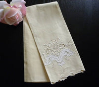 Vintage Unused Irish Linen Madeira Emboridery Guest Towel - The Pink Rose Cottage