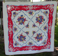 Vintage Red, White, and Blue Rose Tablecloth - The Pink Rose Cottage