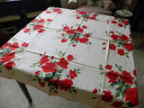 "Vintage Unused Wilendur Red ""Royal Rose"" Tablecloth - The Pink Rose Cottage"