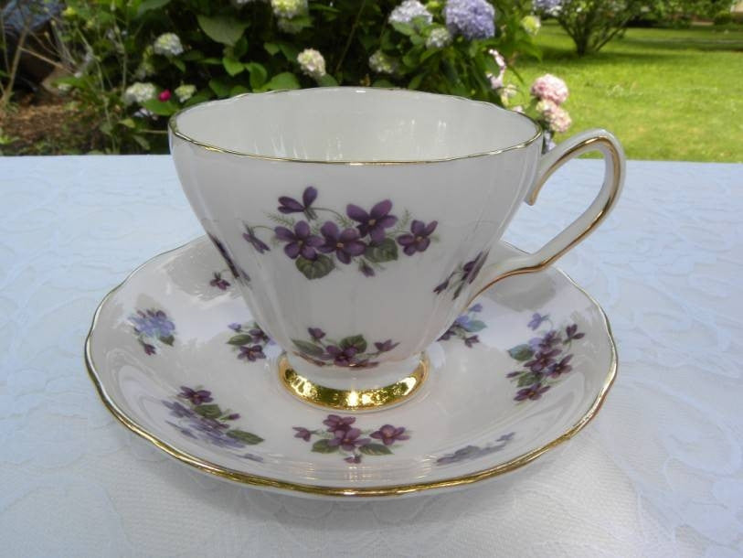 Vintage Colclough Pink with Violets Teacup and Saucer - The Pink Rose Cottage
