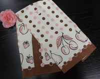 Vintage Victory Pink and Brown Polka Dot and Fruit Tea Towel - The Pink Rose Cottage