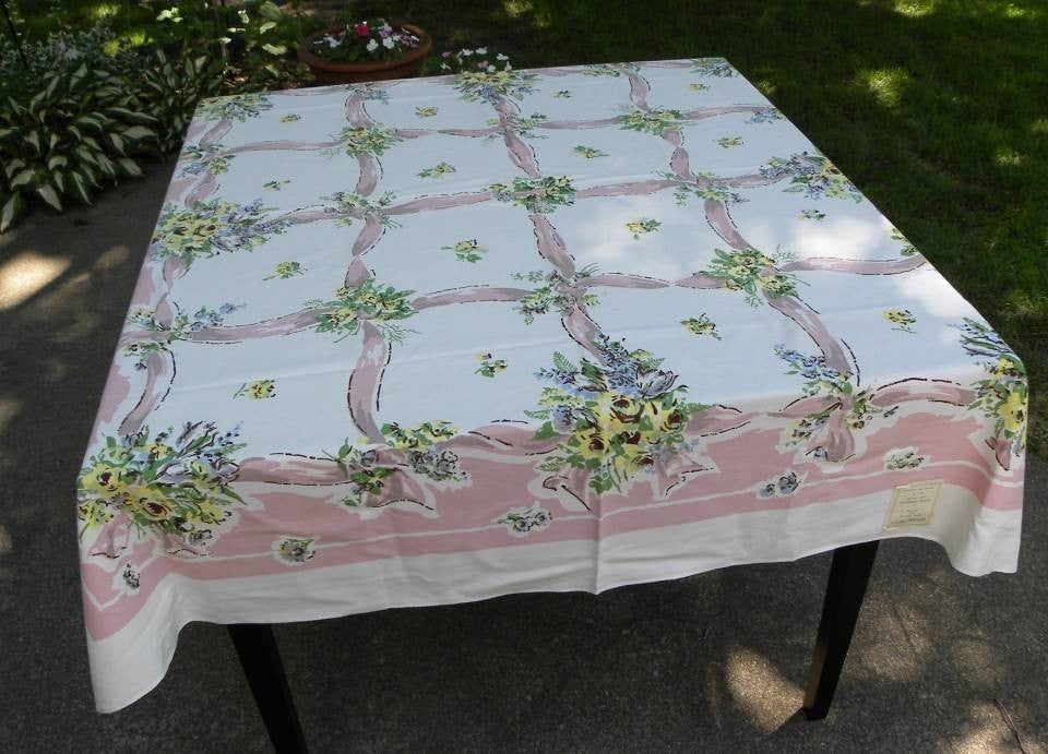 Vintage Monroe Prints Ribbon and Roses Tablecloth Unused - The Pink Rose Cottage