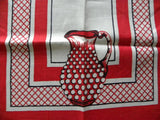 Vintage Red & White Hobnail Pitcher Tea Towel - The Pink Rose Cottage