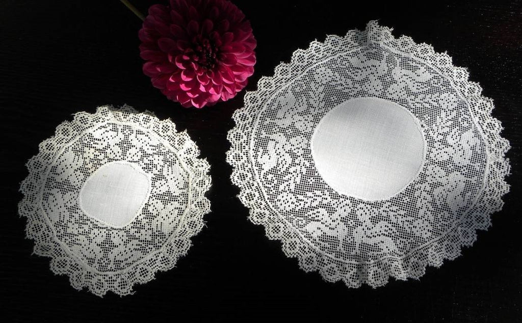 Antique Handmade Filet Lace Griffin Doilies - The Pink Rose Cottage