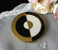 Vintage Elgin American Black & White Art Deco Powder Compact - The Pink Rose Cottage