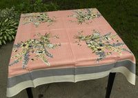 Vintage MWT JS & S Gray and Pink Floral Spray Tablecloth - The Pink Rose Cottage