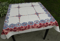 Vintage MWT JS & S Blue Rose with PInk Tablecloth - The Pink Rose Cottage