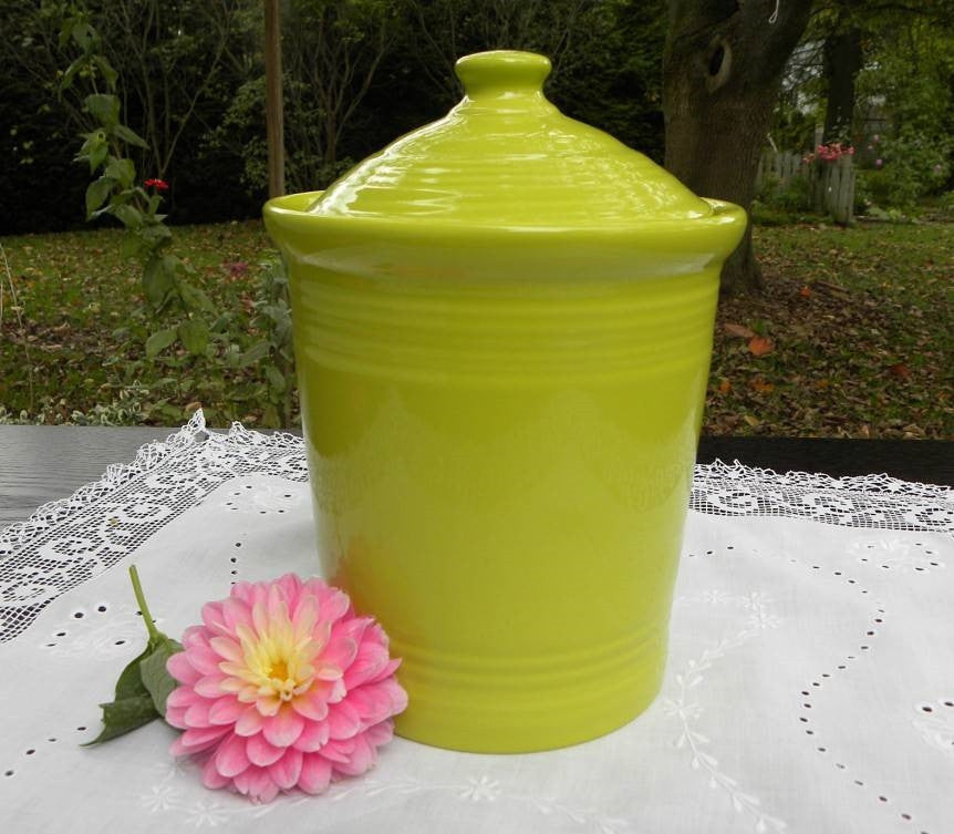 New Fiestaware Medium 2 Quart Canister in Lemongrass - The Pink Rose Cottage