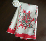 Vintage Unused Linen Red and Green Lilies Tea Towel - The Pink Rose Cottage