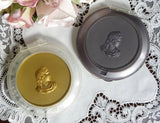 Vintage Ladies Powder Compact with Roman Bust in Silver - The Pink Rose Cottage