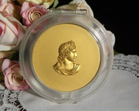 Vintage Ladies Powder Compact with Roman Bust in Gold - The Pink Rose Cottage