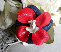 Vintage Enameled Red White Blue Flower Pin - The Pink Rose Cottage