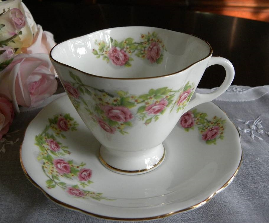Vintage Clarence Pink Rose Teacup and Saucer - The Pink Rose Cottage