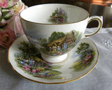 Vintage Royal Vale English Cottage Teacup and Saucer - The Pink Rose Cottage