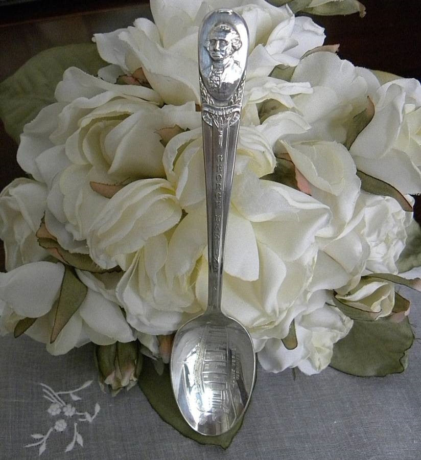 Vintage Wm Rogers Silver Plate Spoon George Washington Mount Vernon - The Pink Rose Cottage