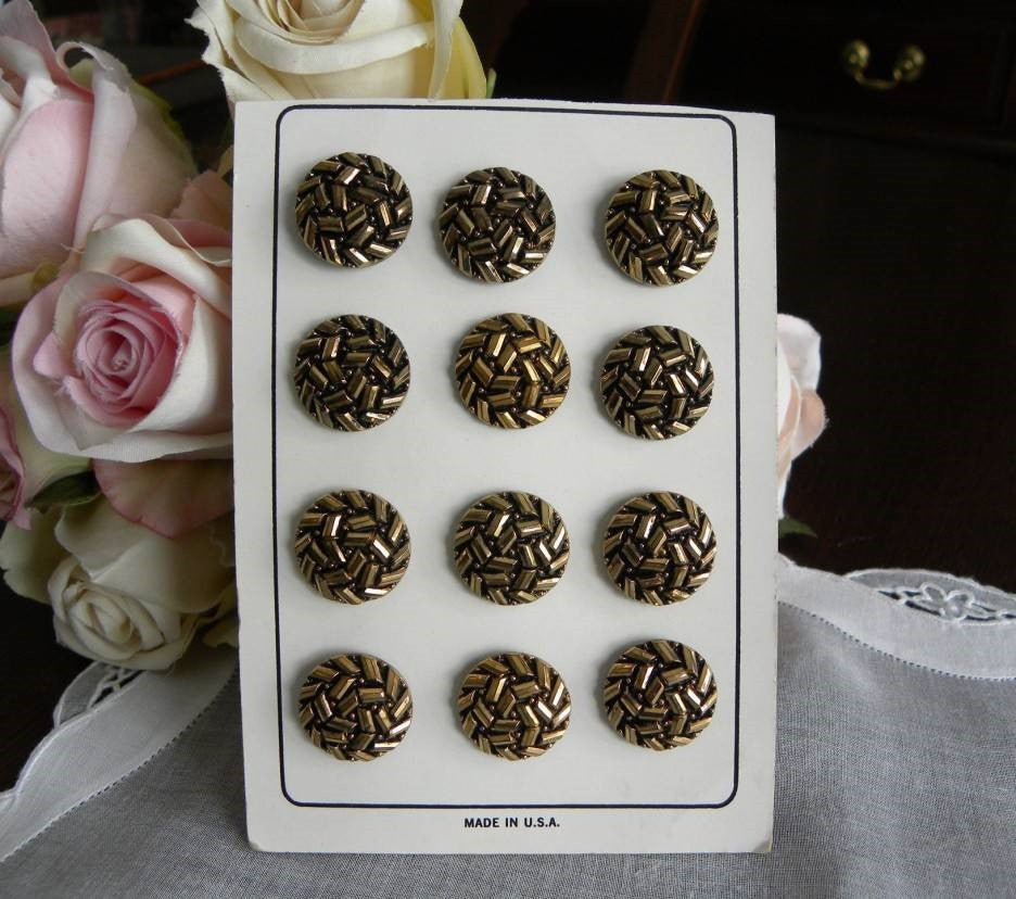 Vintage Glass Black and Gold La Chic Buttons - The Pink Rose Cottage