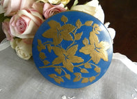 Vintage Ladies Blue Flower Powder Compact by Rex Fifth Avenue - The Pink Rose Cottage