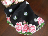 Vintage Black Handkerchief with Pink and Blue Roses - The Pink Rose Cottage