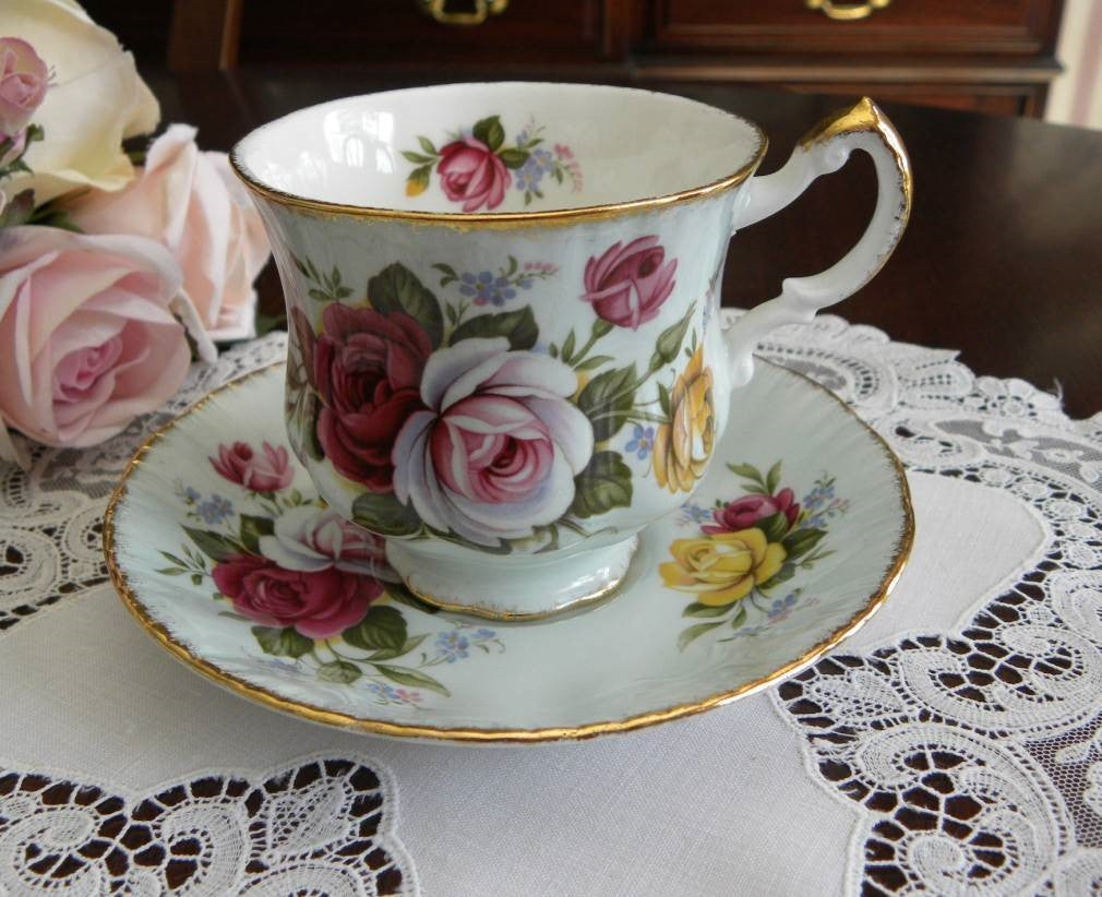 Vintage Paragon Soft Blue Teacup with Pink Roses - The Pink Rose Cottage