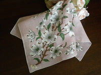 Vintage MWT Brumel Dogwood Blossoms on Pink Handkerchief - The Pink Rose Cottage