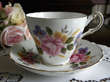 Vintage Pink Rose and Violets Teacup and Saucer - The Pink Rose Cottage