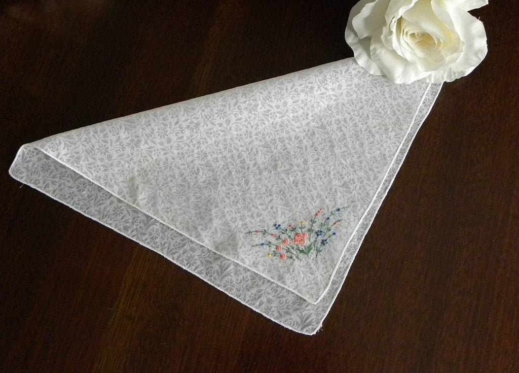 Vintage Sheer Chintz Handkerchief with Pink Roses & Wild Flowers Embroidery - The Pink Rose Cottage
