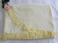 Vintage Popcorn Chenille Twin Bedspread Yellow with Silver - The Pink Rose Cottage