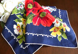 Vintage Stylized Red Poppies on Navy Handkerchief - The Pink Rose Cottage