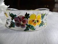 Vintage Hand Painted Pansies Lucite Cuff Bracelet - The Pink Rose Cottage