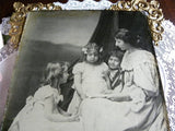 Antique Framed Photograph Mother Reading to Children - The Pink Rose Cottage