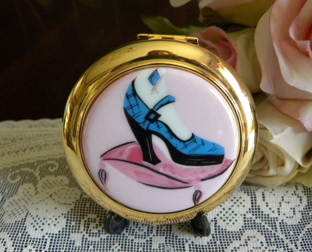 Estee Lauder If The Shoe Fits Blue Shoe Powder Compact MIB - The Pink Rose Cottage