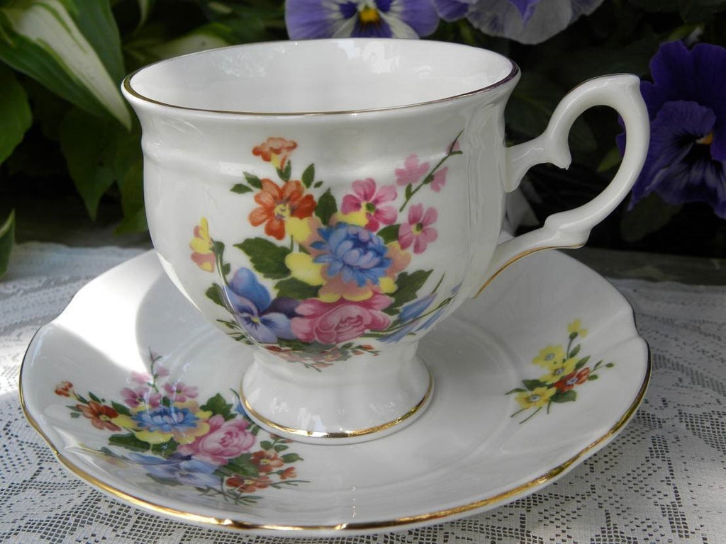 Vintage Crown Staffordshire Pink Rose and Pansy Teacup and Saucer - The Pink Rose Cottage