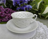 Vintage White Peek Through Teacup and Saucer - The Pink Rose Cottage