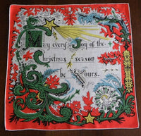 Vintage Joy of Christmas Handkerchief - The Pink Rose Cottage