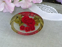 Vintage Lucite Oval Red Rose Pin Brooch - The Pink Rose Cottage