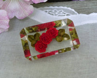 Vintage Lucite  Red Rose Pin Brooch - The Pink Rose Cottage