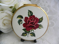 Vintage Stratton Red Rose Powder Compact - The Pink Rose Cottage