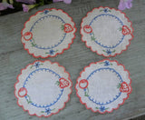 Vintage Strawberry & Cherry Embroidered Doily Coaster Set - The Pink Rose Cottage