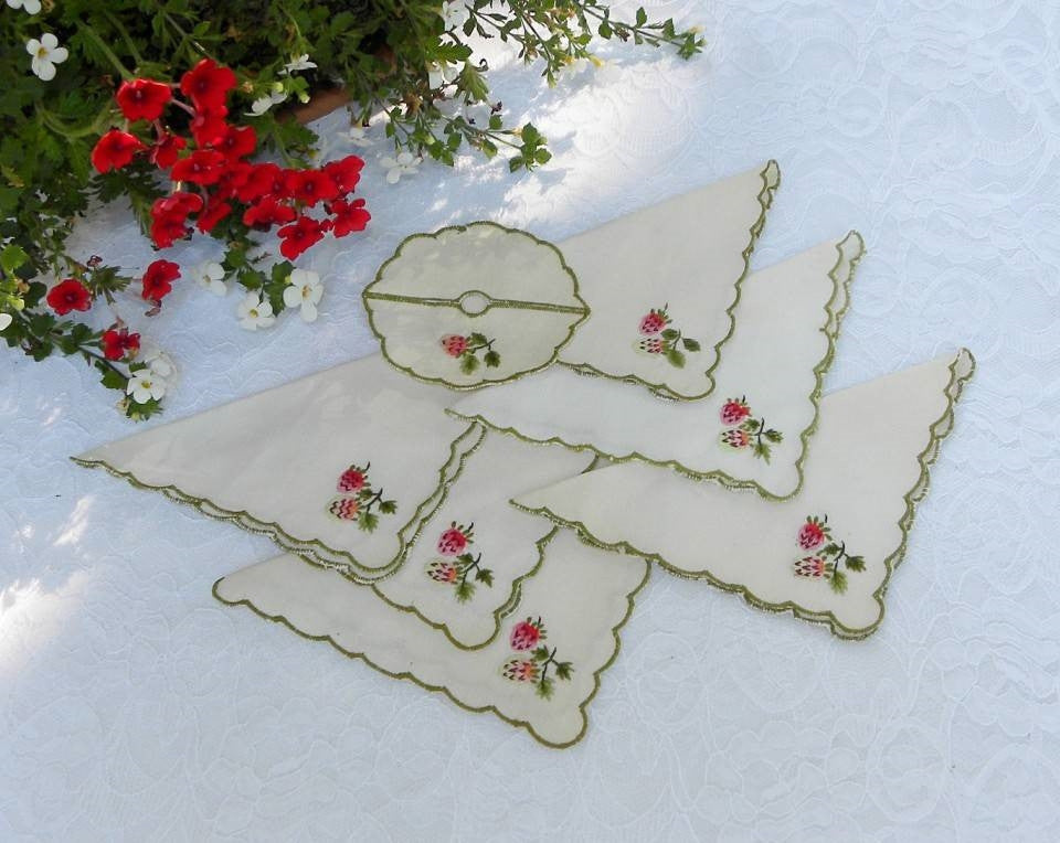 Vintage Embroidered Strawberry Tea or Cocktail Napkins