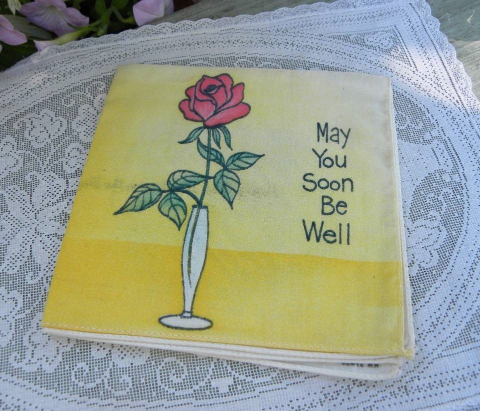 Vintage Get Well Soon Handkerchief Greeting Card - The Pink Rose Cottage